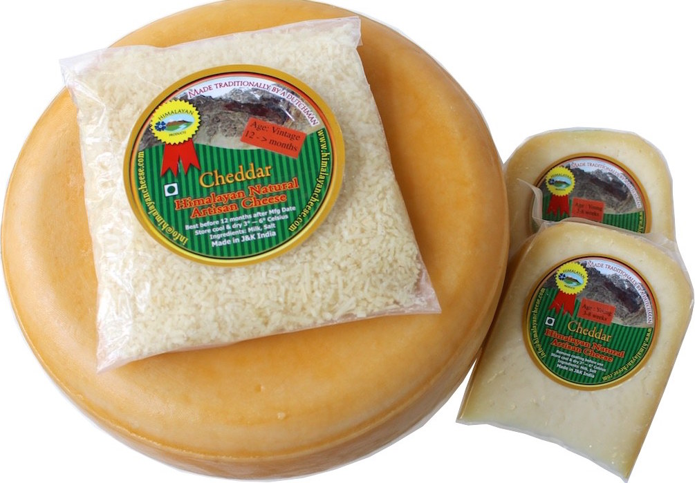 Natural artisan cheddar cheese made in the Himalayas of India